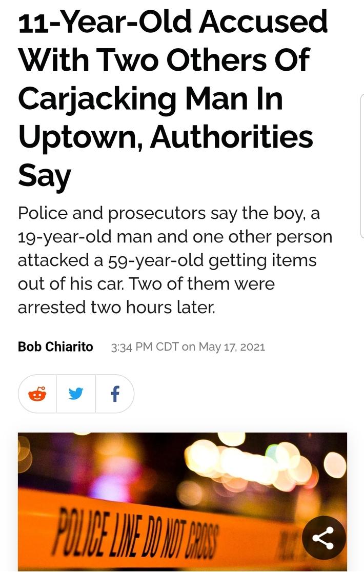 11 Year Old Carjacks 2 Men in Chicago