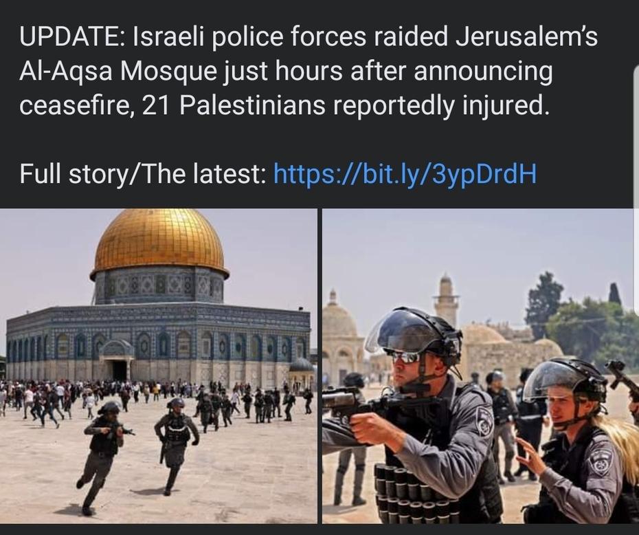Israeli Police Raid Jerusalem Mosque.   22 Palestinians injured.