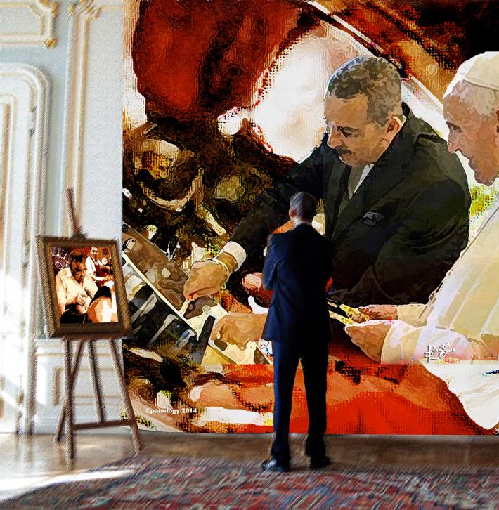 4x4  001 The President Admires Wee Pan Art