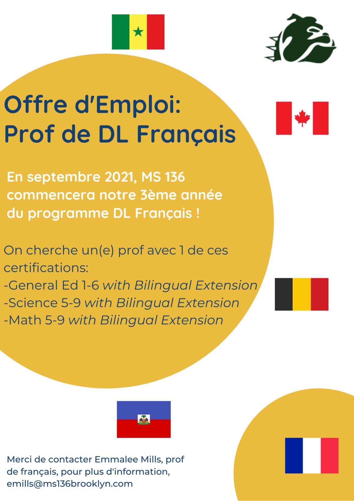 Offre d'Emploi - Prof de Français