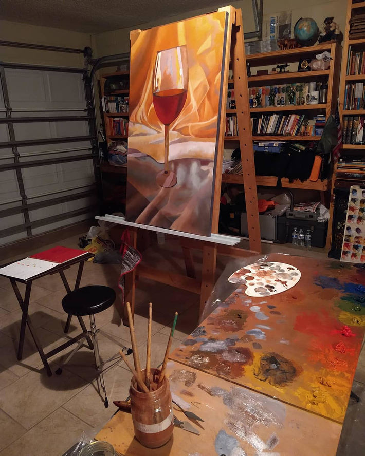 Working on Glass of Wine