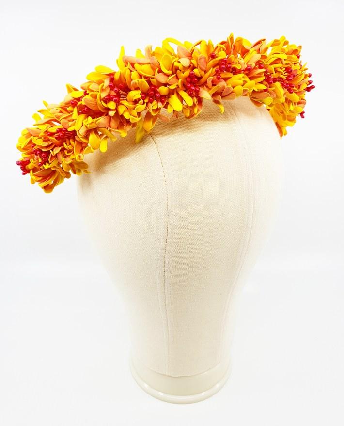 Yellow, orange and pink EVA floral wreath