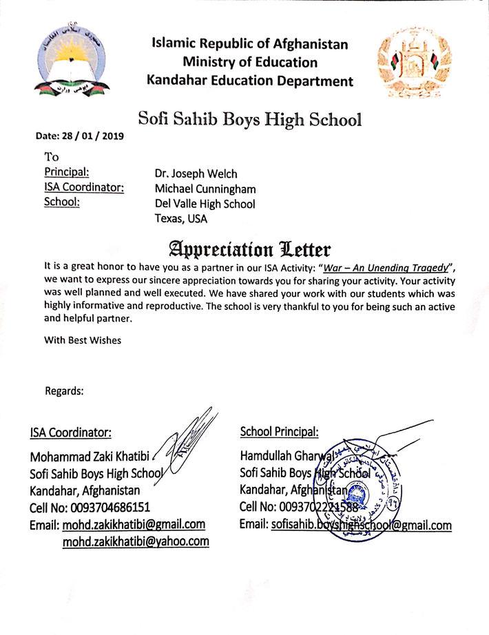 Afghanistan War Project Education Beyond Borders