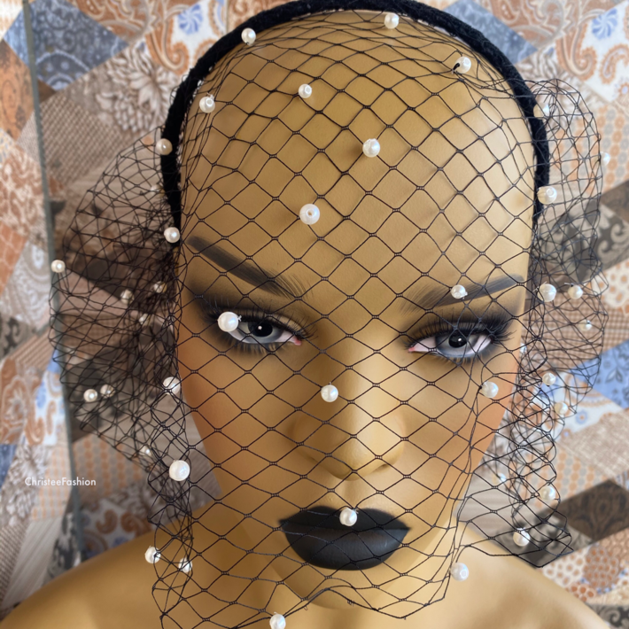 Black pearl Modern Veil