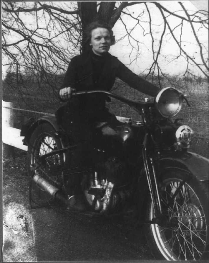 Jane Parker on motorcycle