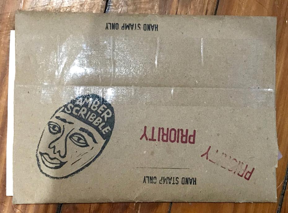 Amber Scribble Envelope Back