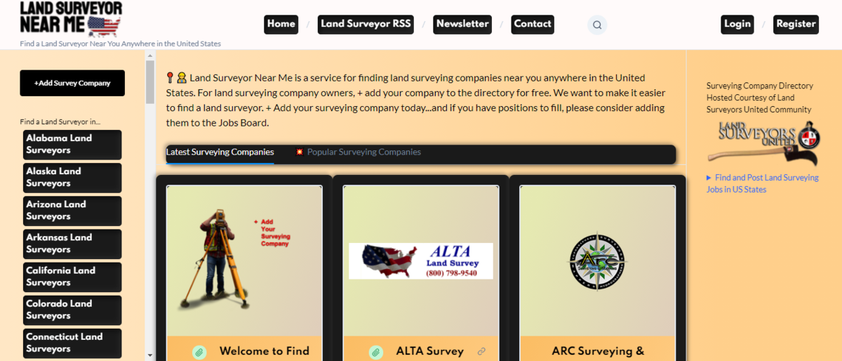 Land Surveying Company Directory for USA