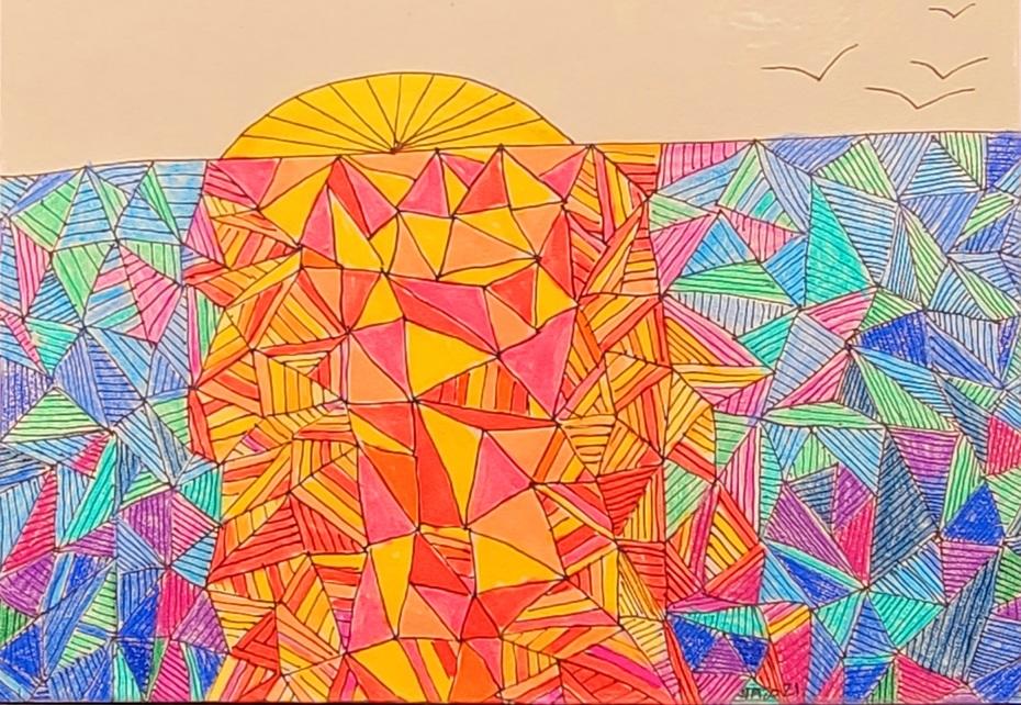 Zentangle sunset