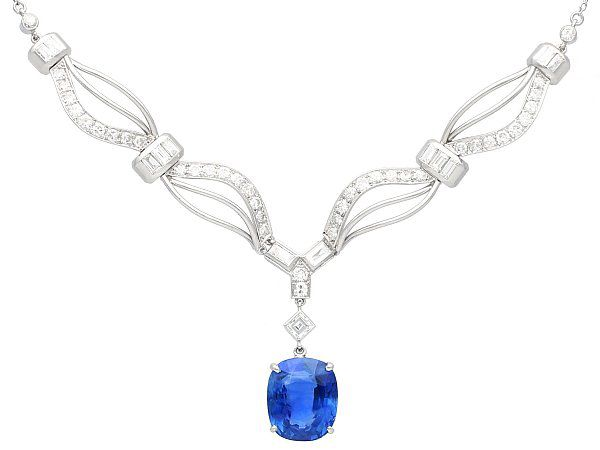 13.50 ct Ceylon Sapphire and 3.27 ct Diamond, Platinum Necklace - Vintage Circa 1950
