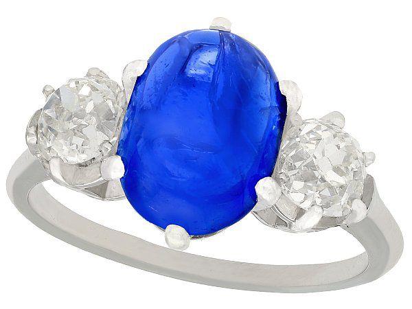 4.90ct Burmese Sapphire and 1.39ct Diamond, Platinum Dress Ring - Antique French Circa 1935