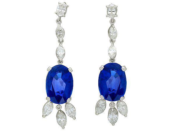 16.78ct Ceylon Sapphire and 4.26ct Diamond, 9ct White Gold Drop Earrings - Vintage Circa 1960
