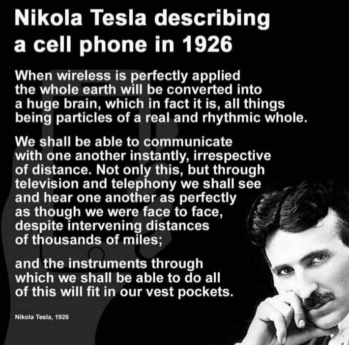 Mikola Tesla 1926 - Describes Cell Phone Technology