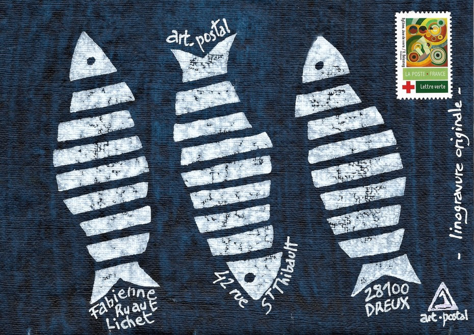 linogravure originale - sardines en trio - 18x24 -  juillet 2021