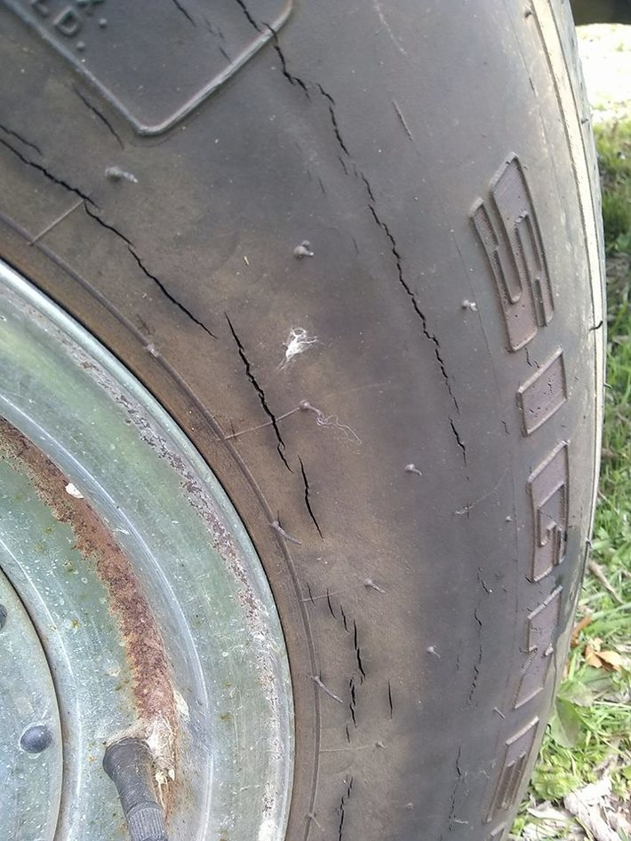 Weathered trailer tire