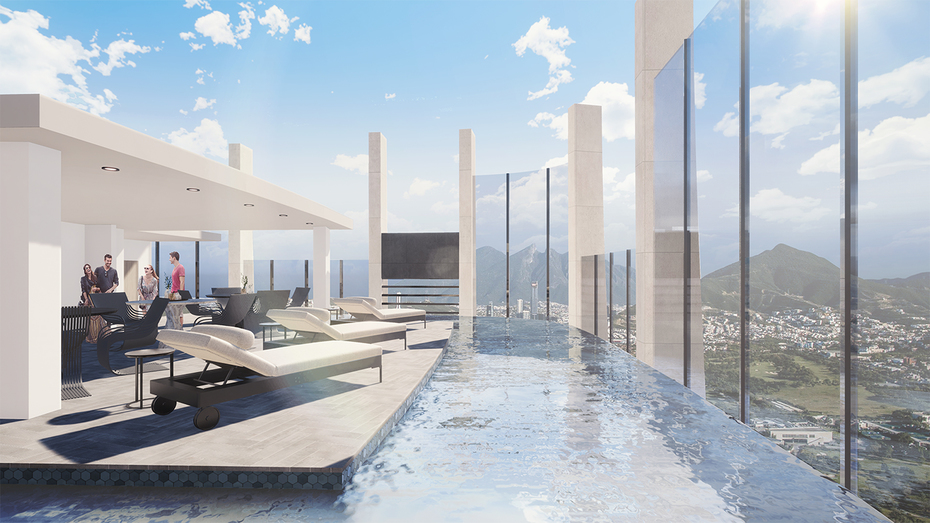 Torre Hedera: Pool area in the rooftop