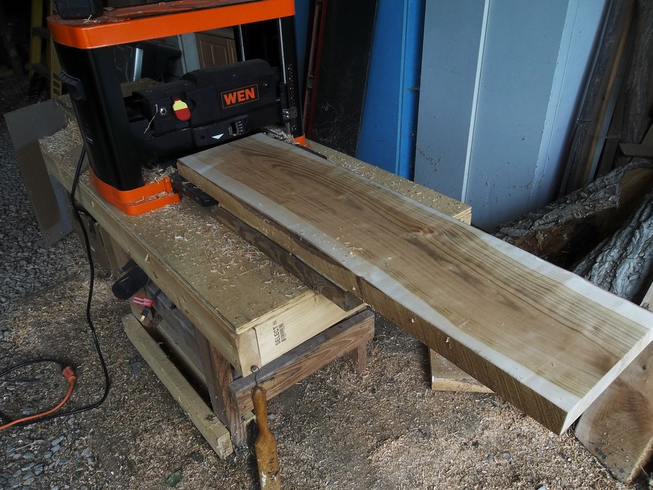 Planed old cherry sawmill planks