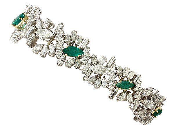 4.63ct Emerald and 16.27ct Diamond, Platinum and 18ct Gold Bracelet - Vintage Circa 1970