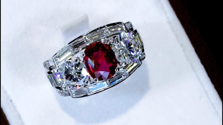 1.70 ct Siam Ruby and 3.02 ct Diamond, Platinum Cocktail Ring - Vintage Circa 1950