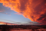 Fiery sunset over Boulder Valley