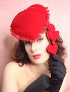 The House of Hats  JE ' T AIME Red Velvet Heart Hat
