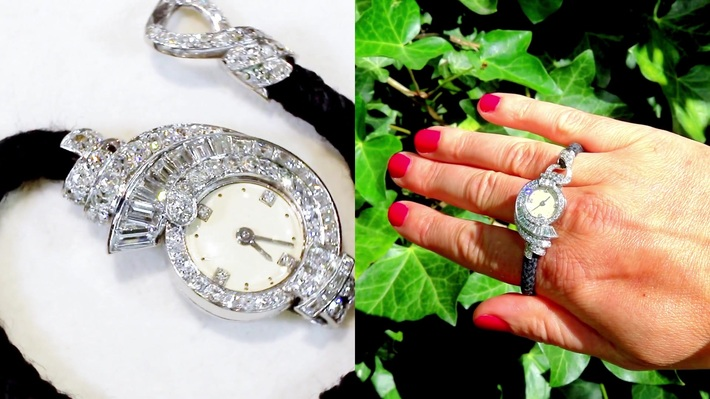 3.07 ct Diamond Cocktail Watch in Platinum - Art Deco - French Antique Circa 1935