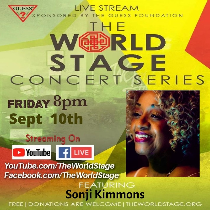 """The 'new' World STAGE Presents: SONJI KIMMONS """"Virtual"""" Concert Series - Livestream """"TGIF Weekly"""" (free but donations requested)"""