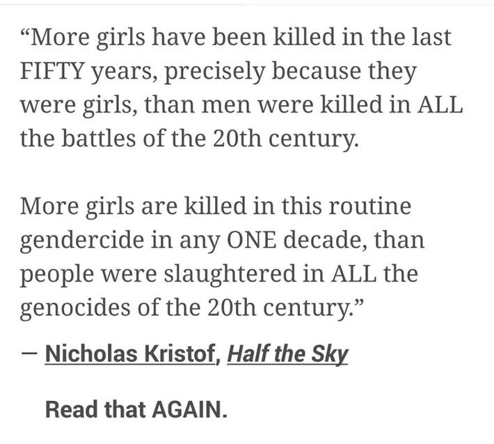 More Girls Killed In The Last 50 Years