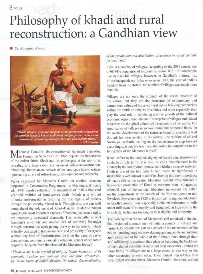 Dr. Ravindra Kumar: Philosophy of Khadi and Rural Reconstruction –A Gandhian View, Business Economics, Kolkata (India), Jan. 16-31, 2019 (1)