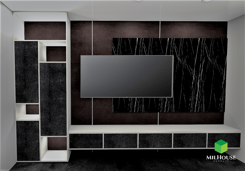 Leather cabinets tv unit