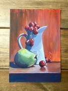 still life, pear