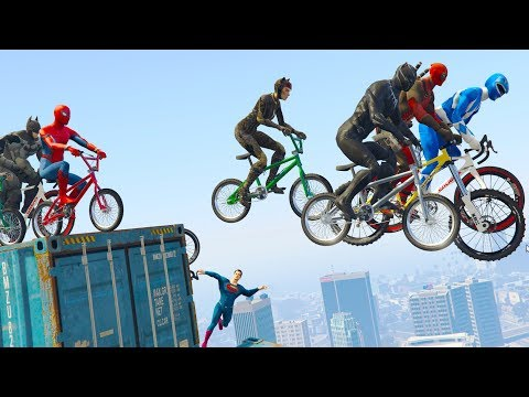 SuperHeroes Funny Bicycle Race - W/ Spiderman, Superman, Batman & more..