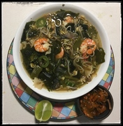 'Everyday' Soup with Prawns and Nopales.