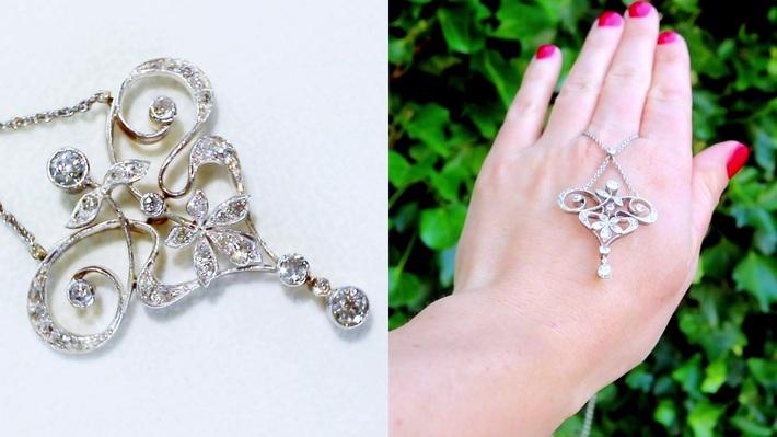 1.12 ct Diamond and 12 ct White Gold Pendant - Antique Circa 1900