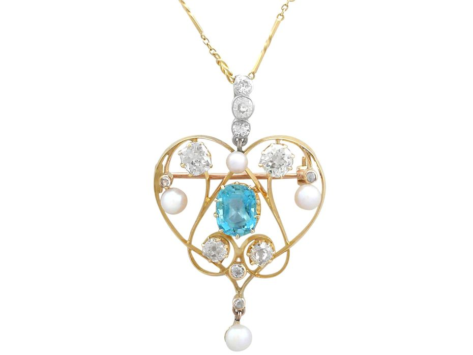 3.22 ct Diamond and 2.10 ct Aquamarine, Pearl and 18 ct Yellow Gold Pendant / Brooch - Antique Victorian