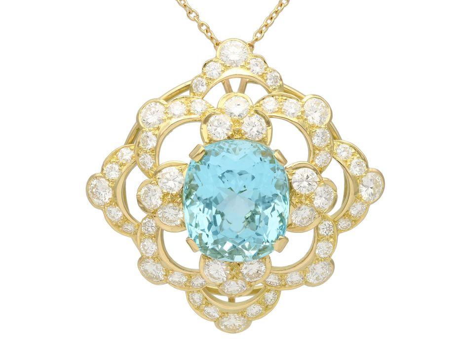 22.32ct Aquamarine, 7.62ct Diamond and 18ct Yellow Gold Pendant - Vintage Circa 1950