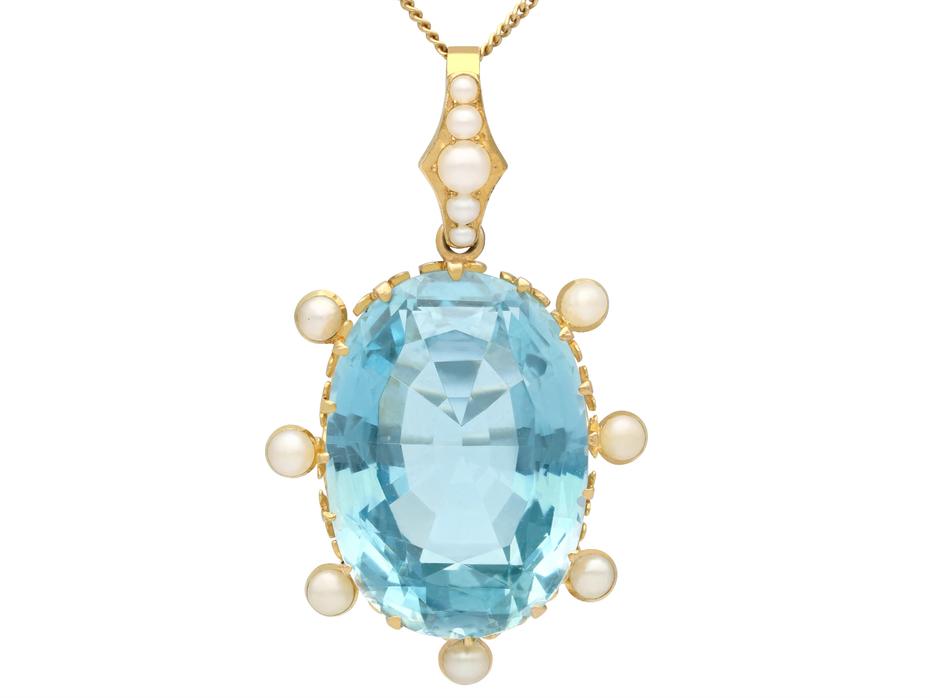 30.41ct Aquamarine and Pearl, 15ct Yellow Gold Pendant - Antique Circa 1910
