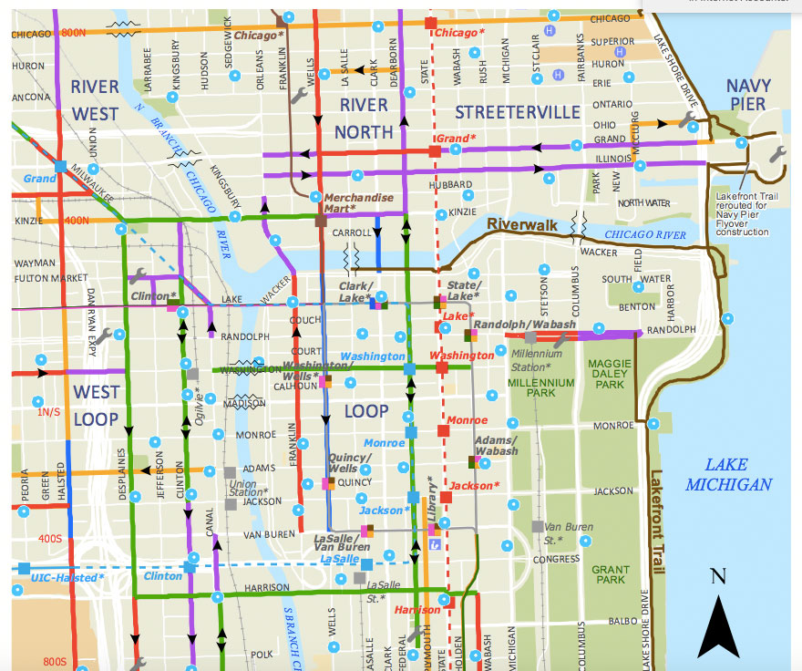 Map of Downtown Bike Lanes, Divvy Stations, etc. - Is This Accurate Divvy Map Chicago on