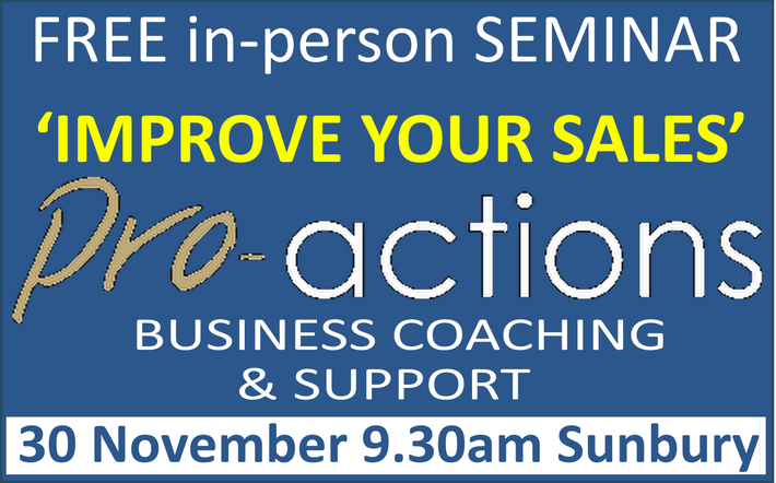 To learn more about the pragmatic and actionable business advice that we provide, do join us at our free seminar 'Improve Your Sales and Win More Business' on 30th November. Click on this ad for details...