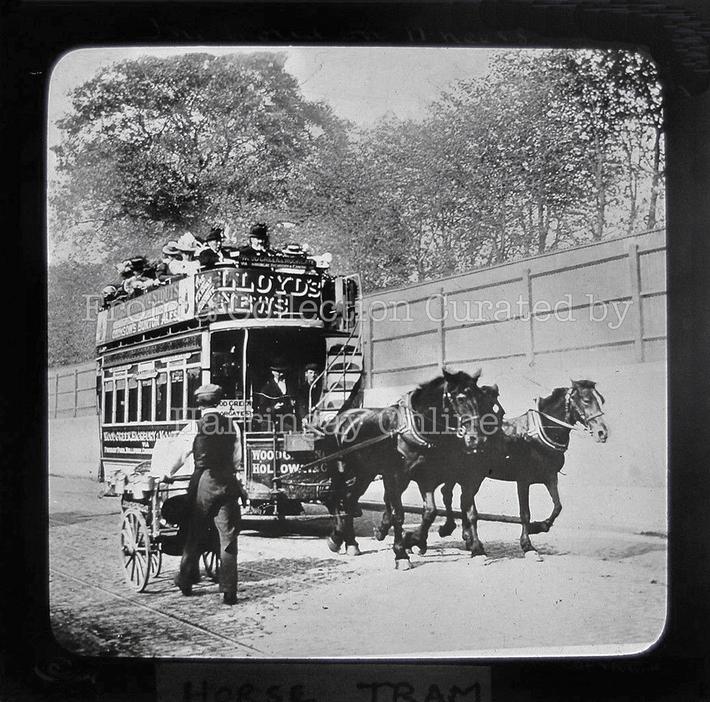 Manor House Horse Tram (Magic Lantern Slide) c1900