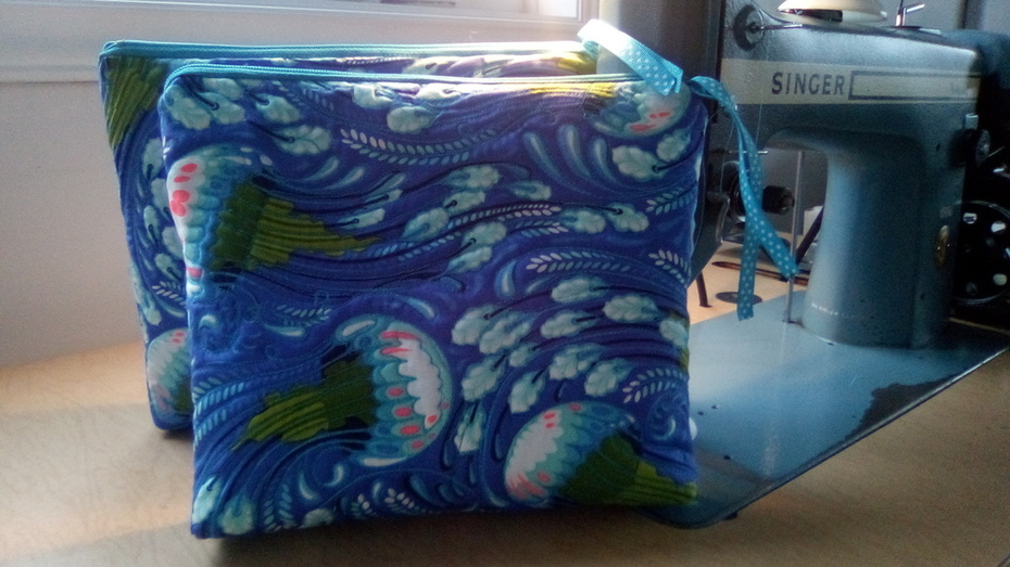 Jellyfish Zippered Pouch - Quilted Tula Pink Zuma Fabric