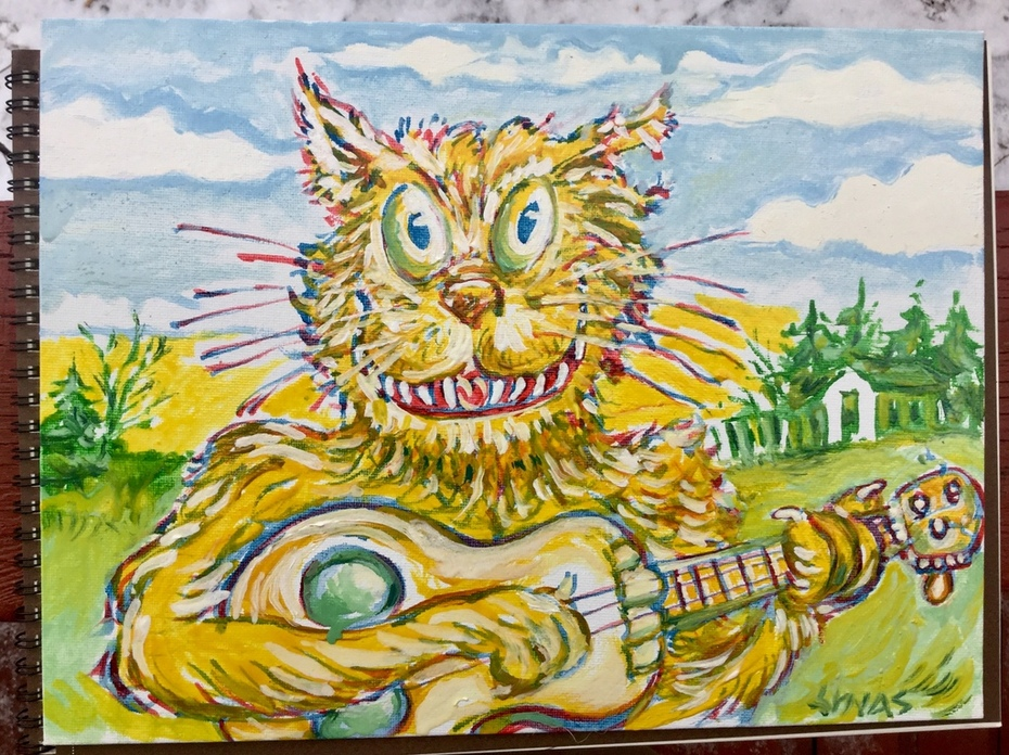 Underpainting for a Psycho Cat oil for Vern.