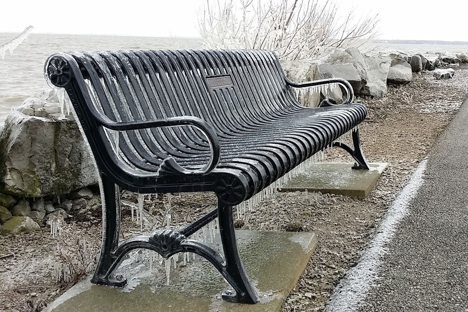 Icy Bench on Sandusky Bay