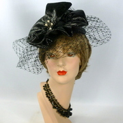 Black Patent Leather Cocktail Hat